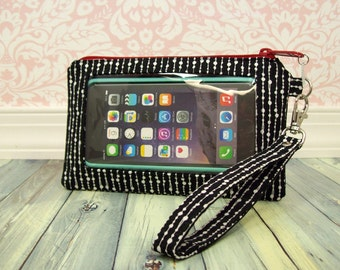 Smartphone Wristlet Case - Original or Extra Large - iphone 7 plus - cell phone - black - white - red - Keep in Touch Wristlet