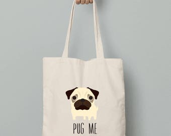 Personalized canvas tote bag, Pug personalized bag, Pug canvas tote bag, Pug gift