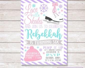 ICE SKATING BIRTHDAY Invitation. Digital. Printable.