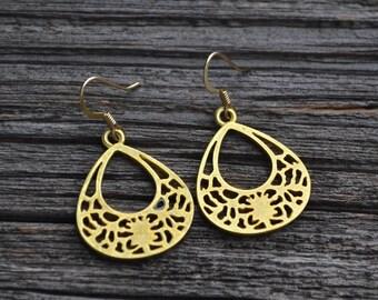 Gold Open Teardrops . Earrings