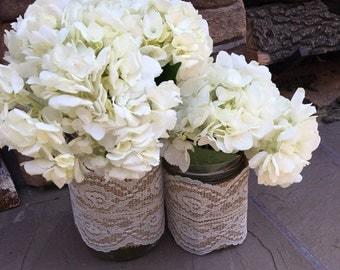 Mason Jar Wrap, IVORY Lace & Burlap, Mason Jar Decoration, Shower, Party, Wedding, Centerpiece, Decoration