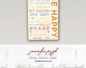 BE HAPPY Colored- 12x18 Art Print -Inspirational Wall Decor -Kids Nursery Playroom Subway Art - Orange, Red,Green,Pink,Blue,Yellow,White