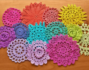 13 Rainbow Hand Dyed vintage Crochet Doilies, 2 to 4 inch Small Craft Doilies, Colorful Doilies, Crochet Medallions, Mandalas