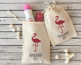 Flamingo Hangover Kit Bags - Glitter Flamingo Party Favors - Flamingo Wedding Favors - Pink Flamingo Party - Bachelorette Hangover Kit Bags