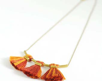 Tassel necklace | orange necklace | yellow necklace | dainty brass necklace | fall winter jewelry | unique gift for her | boho-chic necklace