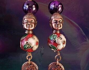 "FREE SHIPPING!- Copper Buddha Head Amethyst Gemstone Om Earrings, Cloisonne, Hindu, Buddhist, Buddhism, Spiritual, 2 1/2"", Ajna Chakra"