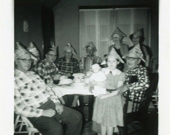 "Vintage Photo ""The Weird Paper Hat Family"" Snapshot Antique Photo Old Black & White Photograph Found Paper Ephemera Vernacular - 42"