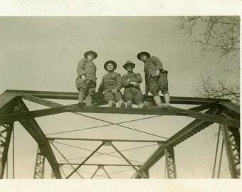 "Vintage Photo ""The Bridge Climbing Soldiers"" Snapshot Antique Photo Old Black & White Photograph Found Paper Ephemera Vernacular - 167"