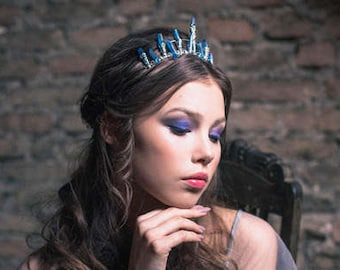 LYSA  quartz crown, crystal crown for a whimsical bride, unusual tiara, game of thrones inspired, silver headband with crystals, olives