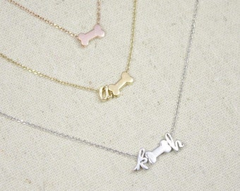 Tiny Dog Bone Necklace | Doggie Initial | Puppy Name | Pet Lover | Dog | Doggie Bone | Dog Memorial | Dog Name Necklace | Mothers Day Gift
