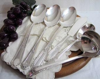 Vintage Silver Plate Flatware, Art Deco 6-Pc Hostess Set #30, Mismatched Serving Spoons, Butter, Sugar, Gravy Ladle ... Silverplate, Fine