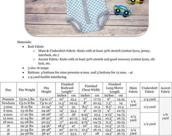 Lullaby Line Cardigan Bodysuit PDF Sewing Pattern: Button-Up Bodysuit Pattern, Cardigan Onesie Pattern