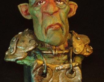OOAK ORIGINAL TROLL (Trottle) bust sculpture by Tom Taggart