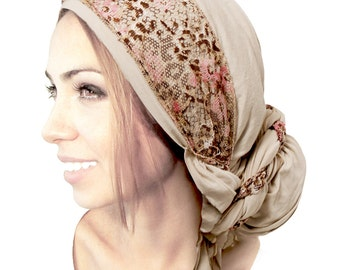Beige Cream Headcovering Head Scarf Tichel Boho Chic Lace Wrap Bad Hair Day Chemo Head Scarves Hair Snood Pre tied Bandana ShariRose