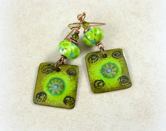 Kiwi Green Charm Earrings - Olive Green, Lime Green and Turquoise Artisan Boho Charm Earrings, Green Earrings, Fall Earrings Artisan