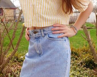 Vintage Lee Acid Wash Denim Skirt, Jean Skirt Size Small
