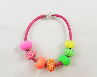 Pink, Orange, & Green Beaded Bracelet