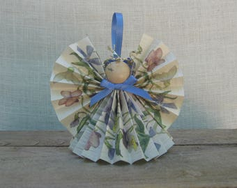 Summer Flower Angel Ornament, Floral Paper Ribbon Angel, Holiday Angel Christmas Ornament