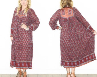 Vintage 70s India Cotton Gauze Dress , BOHO Hippie India Dress