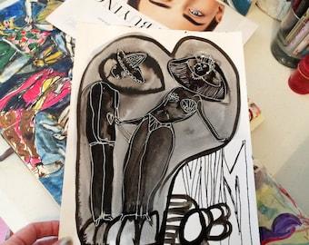 The Love Bubble~ Original Contemporary Acrylic Painting On Paper / Figurative / Love  / Wall Decor / NY Artist / Black & White