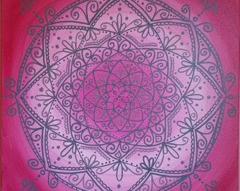 Gray Mandala on Pink