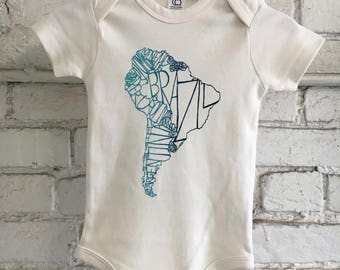 South America Baby Organic Onesie - Neutral Onesie with Teal and Navy Ombre - South America Map Onesie - High Quality Organic Onesie