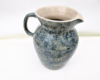 Vintage Pitcher | Spongeware Pottery | Pottery Pitcher | Blue Pottery | Kitchen Utensil Holder