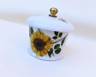 Vintage Stamp Holder   Postage Stamp Holder   Porcelain Dispenser   Sunflower Decor