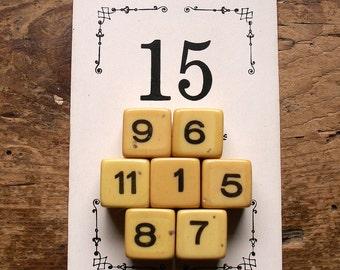 Vintage Small Game Dice - Number Dice - Board Game Die - Set of 7