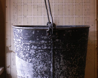 Vintage Extra Large White Brand Utility Bucket with Dark Blue Chippy Paint