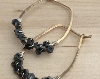Gold Hematite Hoops, Modern Stone Hoops, Black Stone Hoops, Geometric Earrings, Simple Gold Hoops, Geometric Stone Earrings, Wrapped Hoops