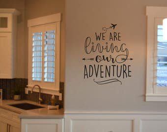 We are living our adventure KW1351 arrow and airplane vinyl wall lettering sticker decal home decor stencil matte oracal 631 vinyl
