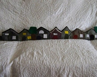 Little Houses draft stopper; draught excluder; village; filled with poly pellets