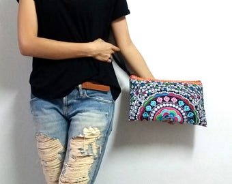 Hmong Old Vintage Style. Ethnic Embroidered Thai Boho Small Clutch Purse Bag