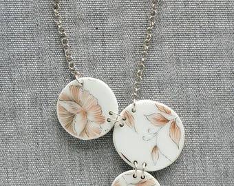 SALE! Round Peachy Rose Necklace Broken Recycled China Jewelry Material and Movement