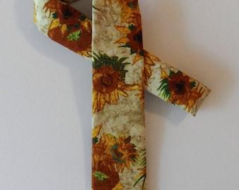 Van Gogh Sunflowers Skinny Tie // Cotton & Silk Necktie