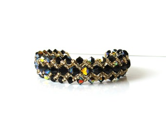 Beaded Bracelet, Black & Gold Bracelet, Bead Bracelet, Beaded Jewelry, Gift for Her, Swarovski Crystal Jewelry, Seed Bead Bracelet