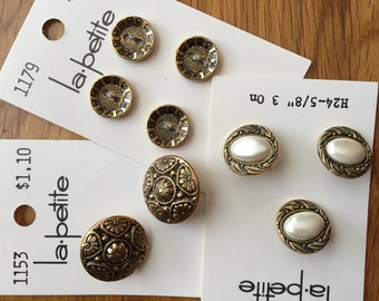 Vintage La Petite Buttons on Cards - Gold Metal Black Antique - Gold with Pearl - Gold Flat Buttons - Gold Button with Shank