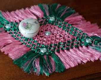 Antique Handmade Tied Knot Doily Tasseled Silk Dresser Scarf