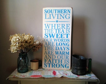 Southern Living Distressed Wood Sign The South Shabby Chic Decor