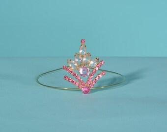 Vintage 1960s Pink Rhinestone Tiara - DeLizza Elster Juliana - Bridal Prom Fashions
