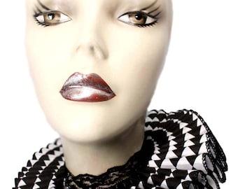 Ruffled Collar Harlequin Gothic Elizabethan Neck Ruff Clown Steampunk Queen Black White