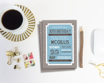 Birthday Party Invitation Template, Printable Invitation, Editable Invitation, DIY Template, Invitation Template, Chevron, Art Deco