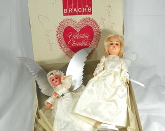 VINTAGE 1950s WORKING Tree Topper Angel Electric Plug In and Doll w/ White Wings Christmas Holiday Decoration Mid Century Fairy Angle Gift