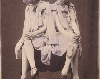 The Lavender Twins- 1920s Antique Photograph- Flapper Girls- Easter 1927- Roaring 20s- Bobbed Hair- Hand Tinted- Found Photo- Paper Ephemera