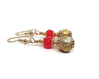 Red and Metallic Gold Drop Earrings Faceted Crystal Gold Plated Holiday Jewelry Fancy Womens