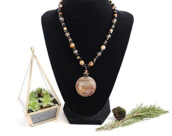African Queen Jasper Natural Polished Stone Necklace