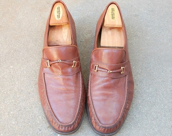 Vintage Mens 45 ~ 11.5 Lambertazzi Leather Brown Slip On Loafers Loafer Dress Suit Shoes Oxfords Preppy Hipster Spring Fashion Wedding Shoes