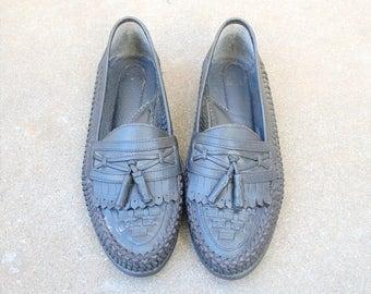 Vintage Mens 8.5 Nunn Bush Black Leather Woven Tassel Fringe Loafers Loafer Oxfords Slip on Huaraches Sandals Boat Deck Shoes Hipster Indian