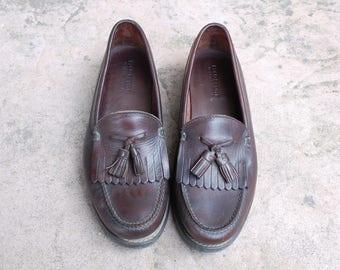 Vintage Mens 10.5d Polo Sport Ralph Lauren Slip on Loafers Loafer Fringe Tassel Boat Deck Shoes Preppy Hipster Brown Leather Dress Casual